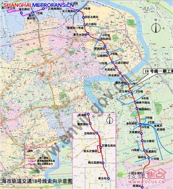 18号线规划图 18号线地铁线路图 地图画线 上海地铁18