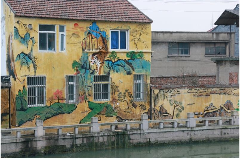 出现的上千平的涂鸦绘画围墙图片