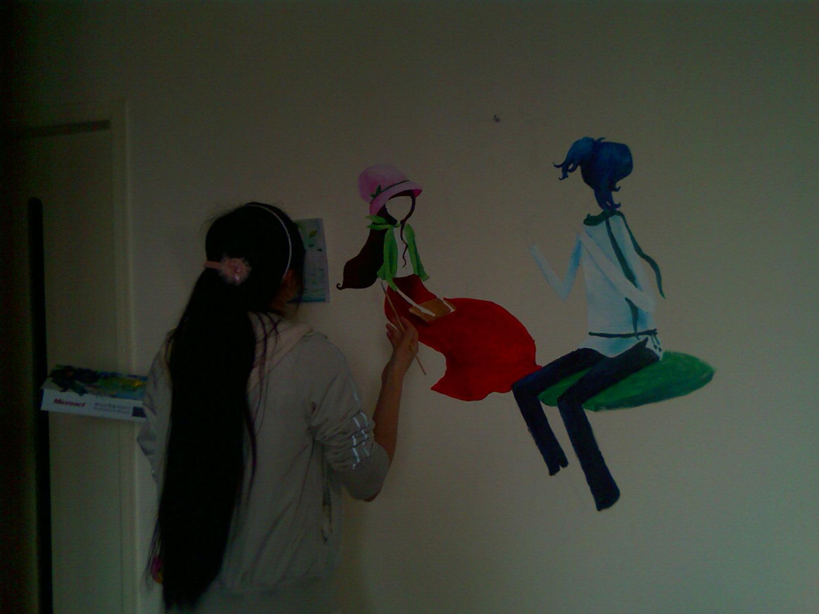 图:晒晒我家的手绘墙面画,韩国插画的图案!