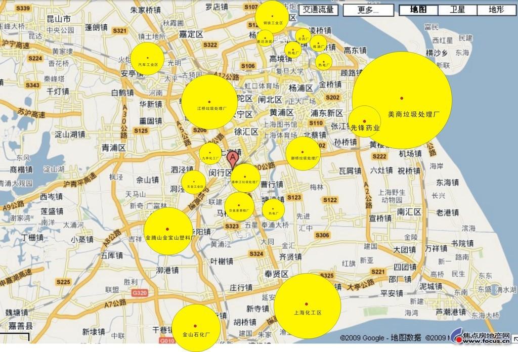 图:新鲜出炉的上海污染区域地图
