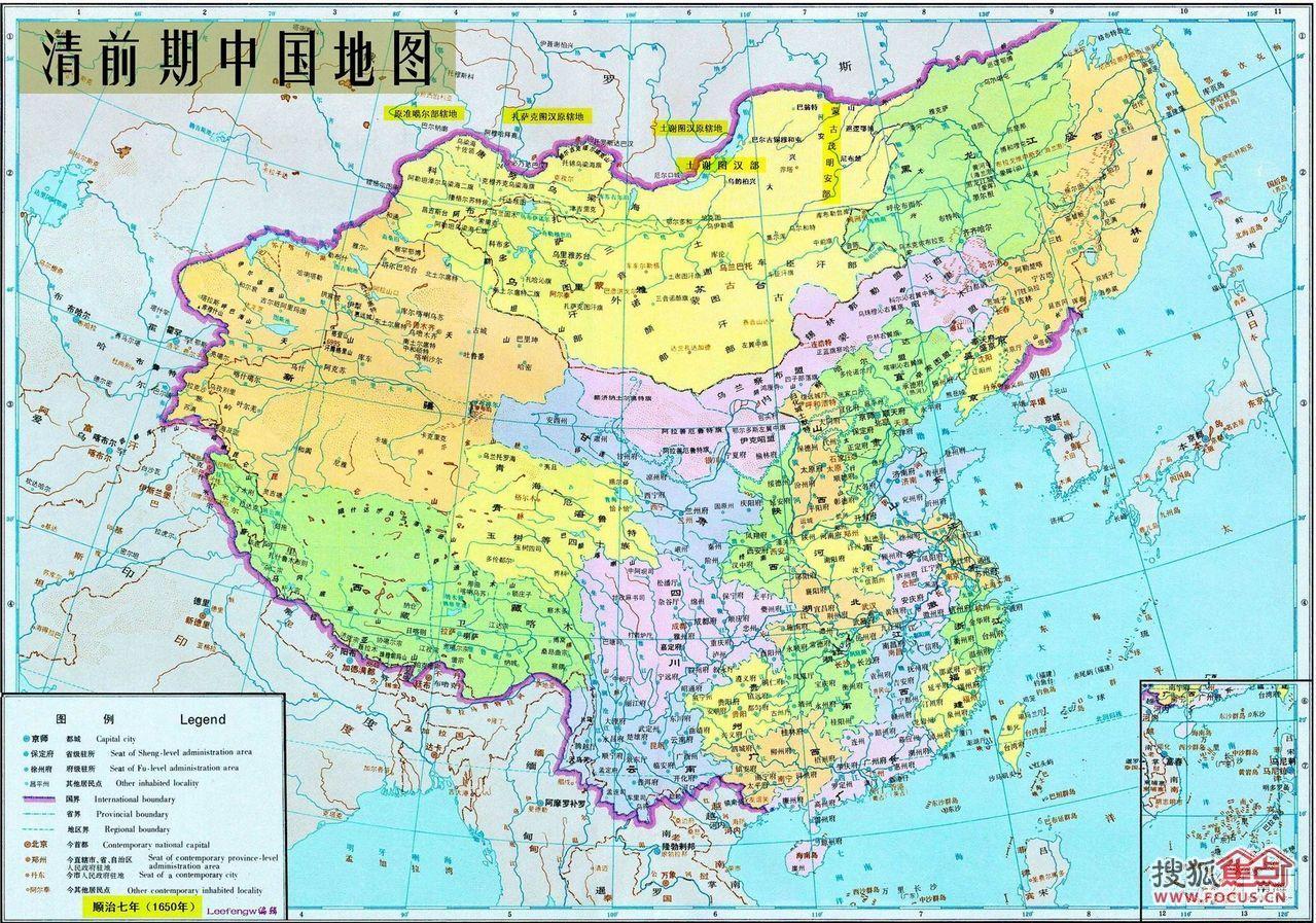 图:清朝前期中国地图