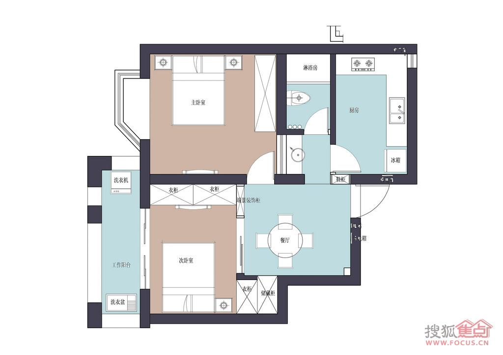 四十平方米的一厅两房设计图展示