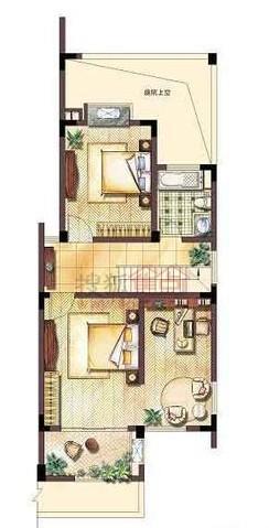 金湖银滩叠加别墅二层平面图户型