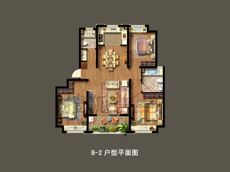 绿地幸福里b-2户型120平方米3房2厅2卫-3室2厅2卫-120m