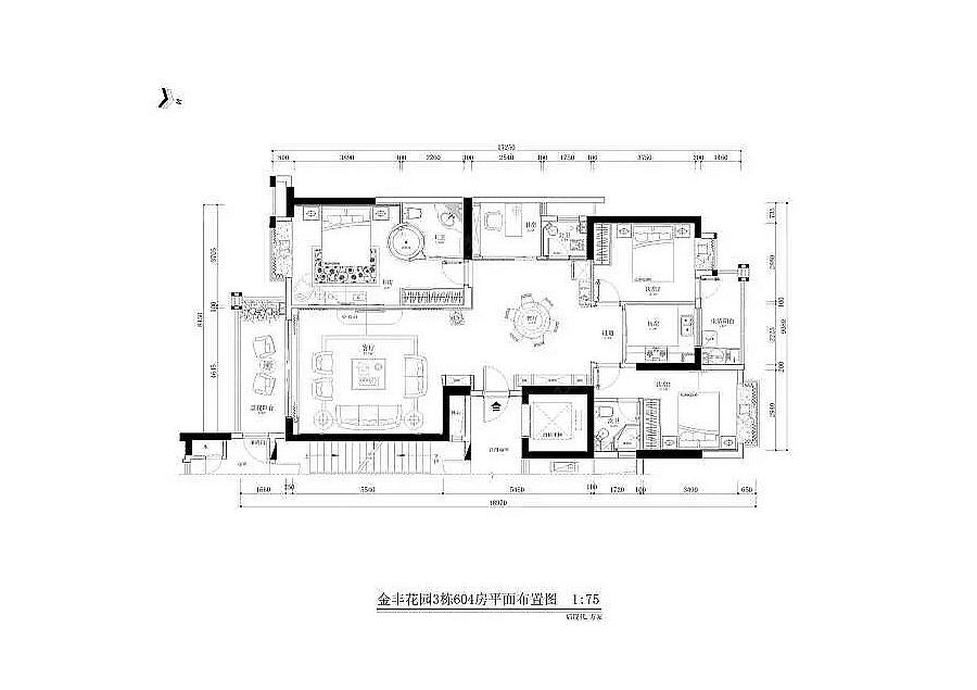 80平方四房一厅设计图