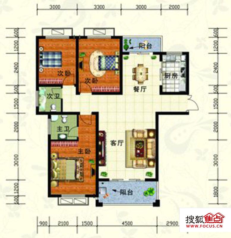 志成新世界户型图-3室2厅2卫-130m