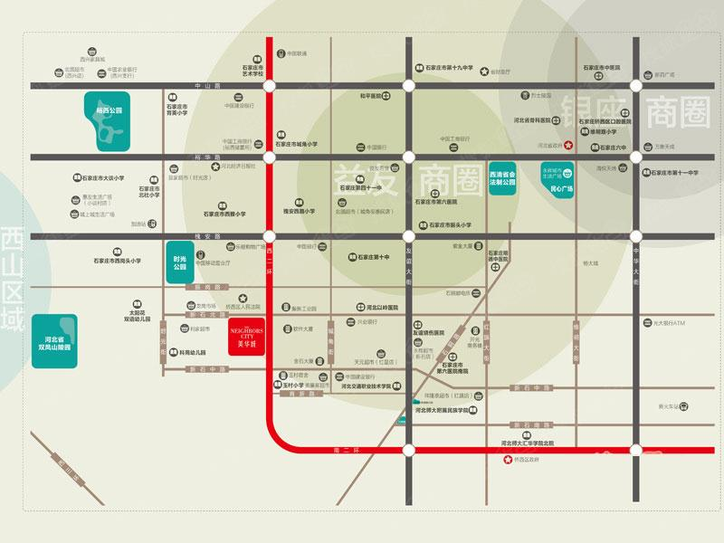 美华城交通图 高清图片