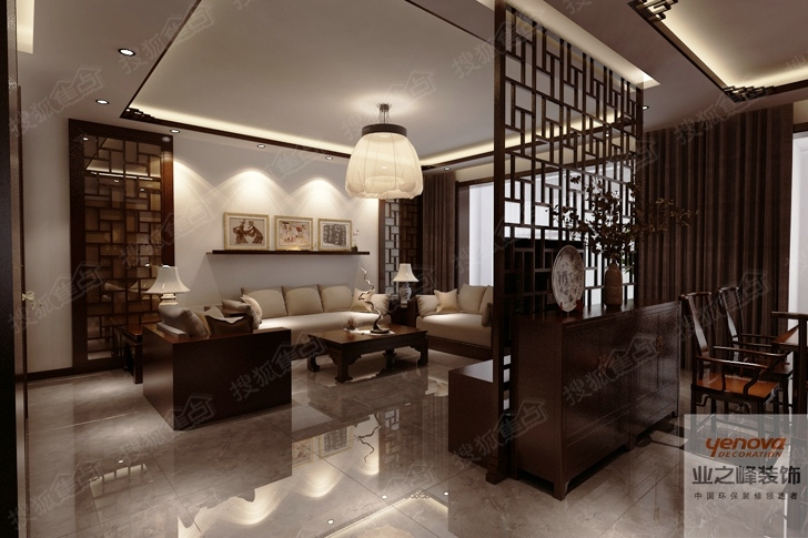 天山熙湖140平米新中式装修设计效果图 清雅含蓄 端庄丰华高清图片