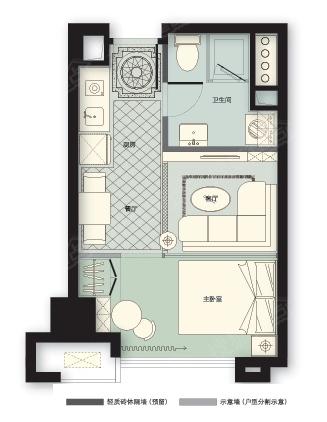 林荫大院三期橡树园一室两厅一卫43平米d户型图高清图片