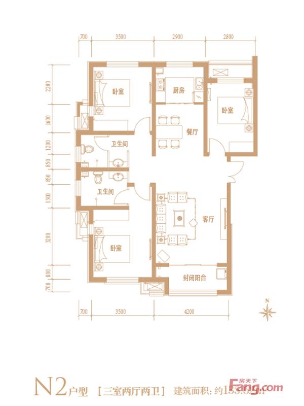 下图为国仕山135.62平米n2户型装修平面图:   主要有法式风高清图片