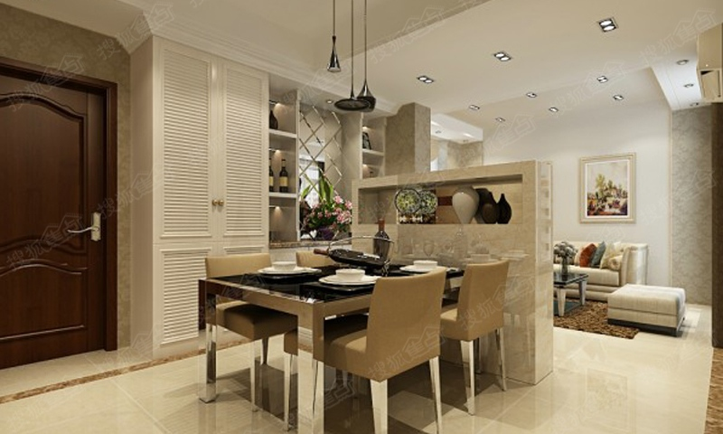 祥云国际东一区1号楼2号楼93平米两室两厅现代简约装修效果图高清图片