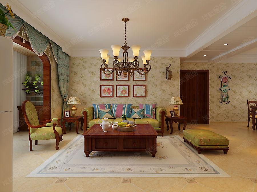 诚园1号楼 2号楼两室两厅一卫91.53平米田园风格装修效果图 高清图片