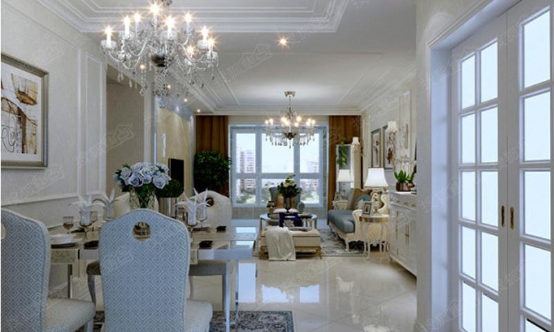 西溪诚园1号楼三室两厅一卫101.36平米简欧风格装修效果图高清图片