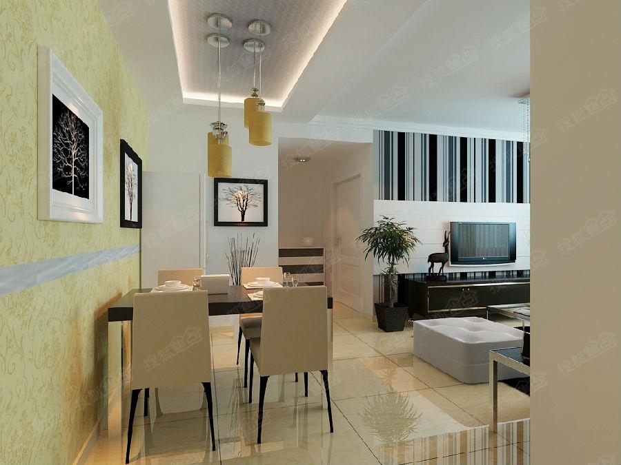 紫晶悦城C户型1 3号楼5 9号楼三室两厅一卫109平米现代简约风格装修高清图片