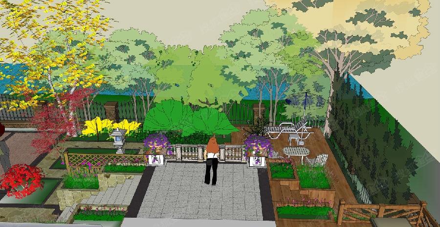 庭院景观 屋顶花园 下沉庭院实景效果图