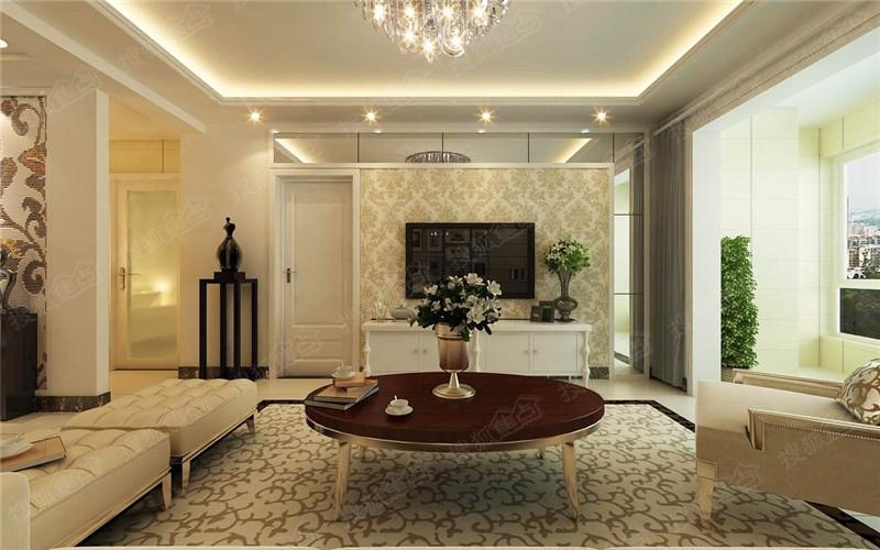 长九中心10号楼g户型136.69平米装修效果图:客厅