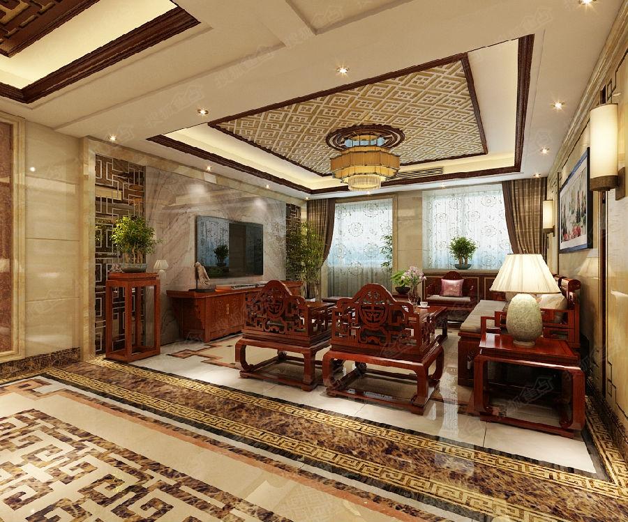 【奥北公元二期装修】165平米三室两厅中式风格装修效果图图片