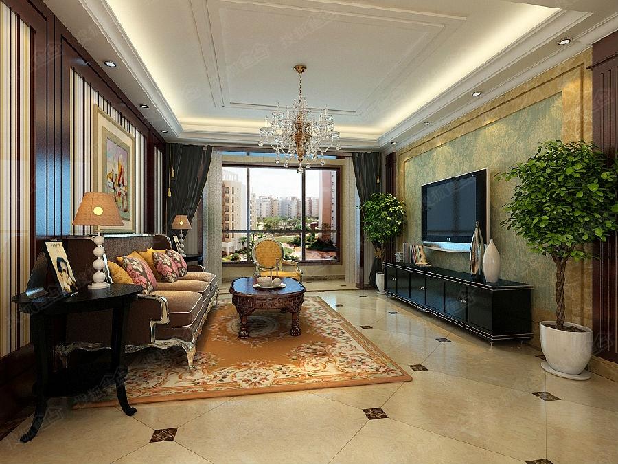 【奥北公元装修】141平米三室两厅后奢风格——客厅装修效果图