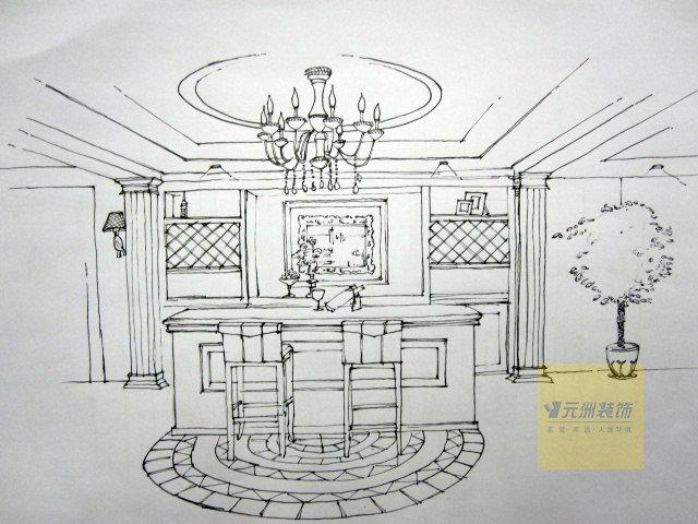 石家庄江南新城别墅装修手绘图-欧式风格-308平米