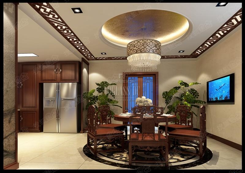 > 苏州别墅装修设计中式风格   一楼门厅用石材搭配圆形花格做出层次