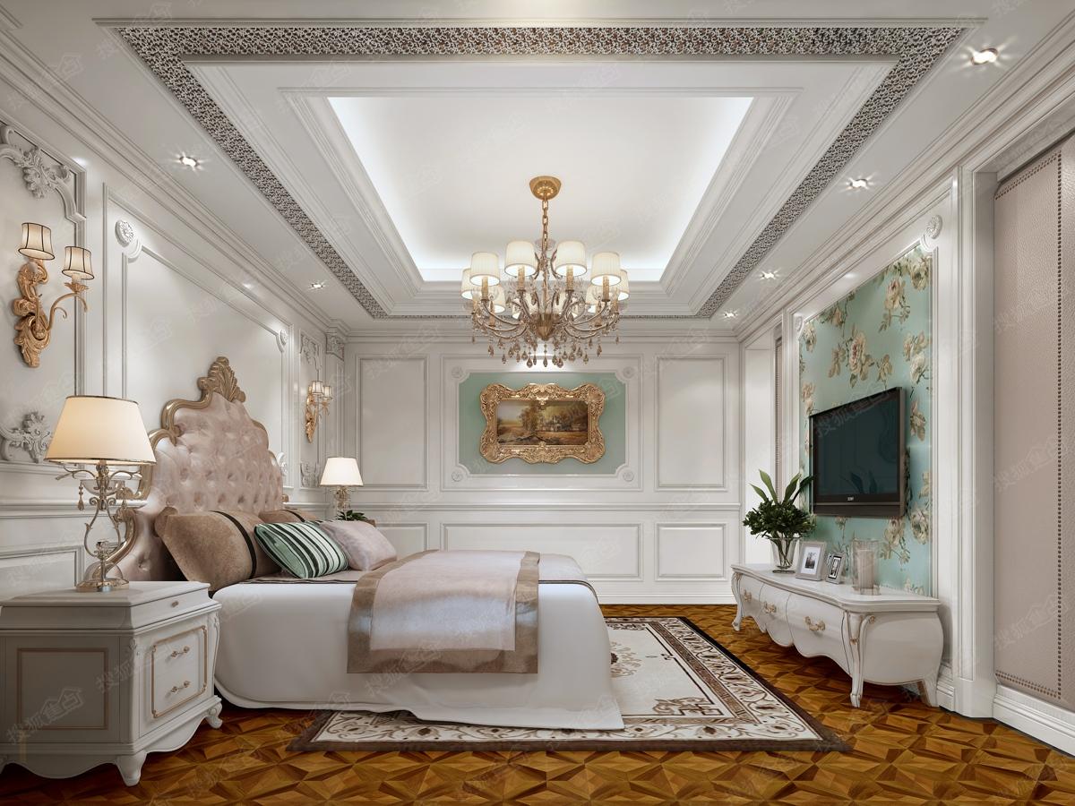 大明翰泽苑9,11#楼顶层装修效果图--美式白色主卧室图片