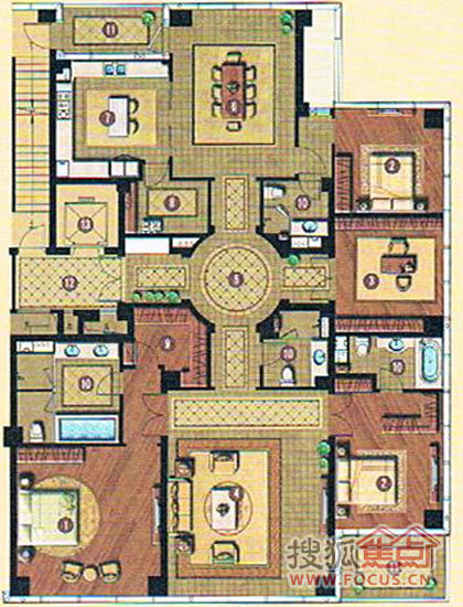 在矩形的户型平面上,以十字内廊为中轴,将礼仪区,社交区,休息区,家庭图片