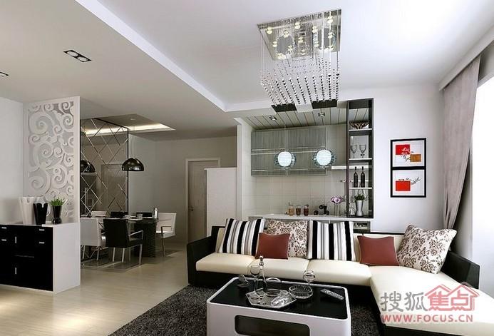 5万以下普通住宅2室2厅1卫现代风格家装案例装修效果图客厅高清图片