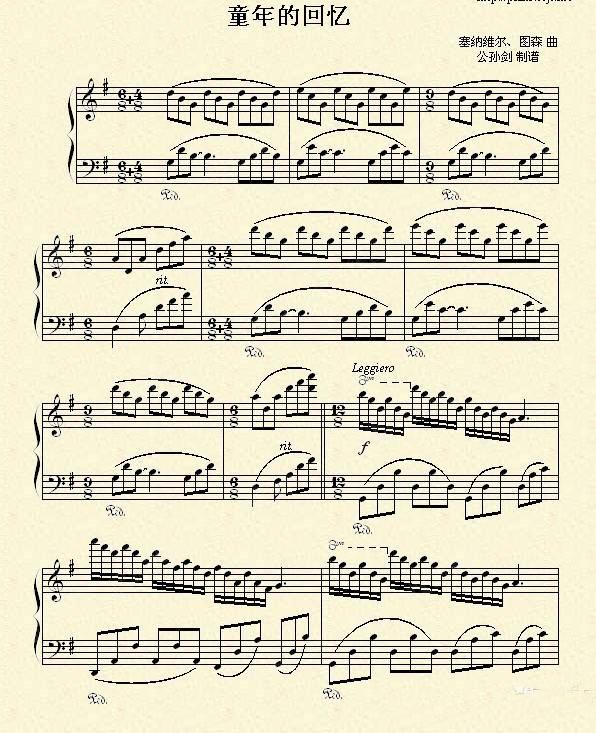 德 克莱德曼 童年的回忆 ,附曲谱