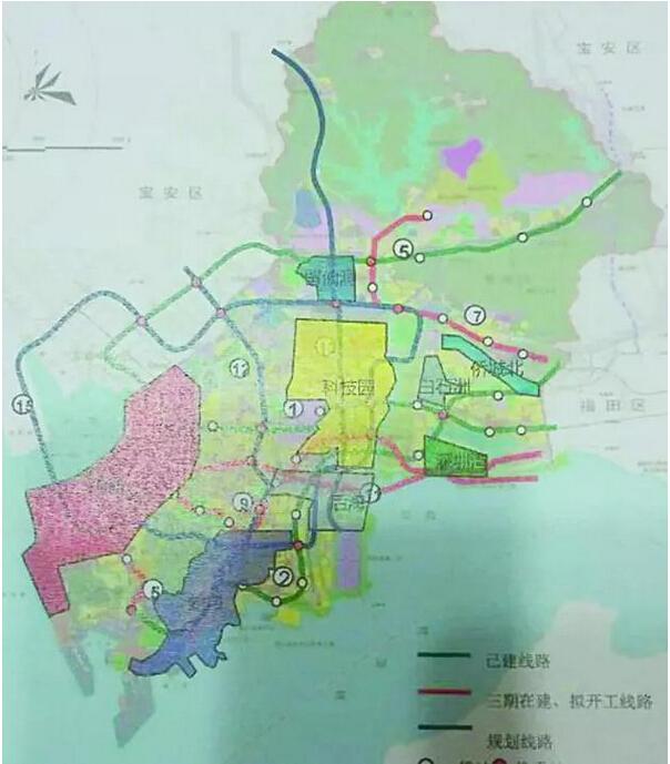 南山区远期地铁全图简析