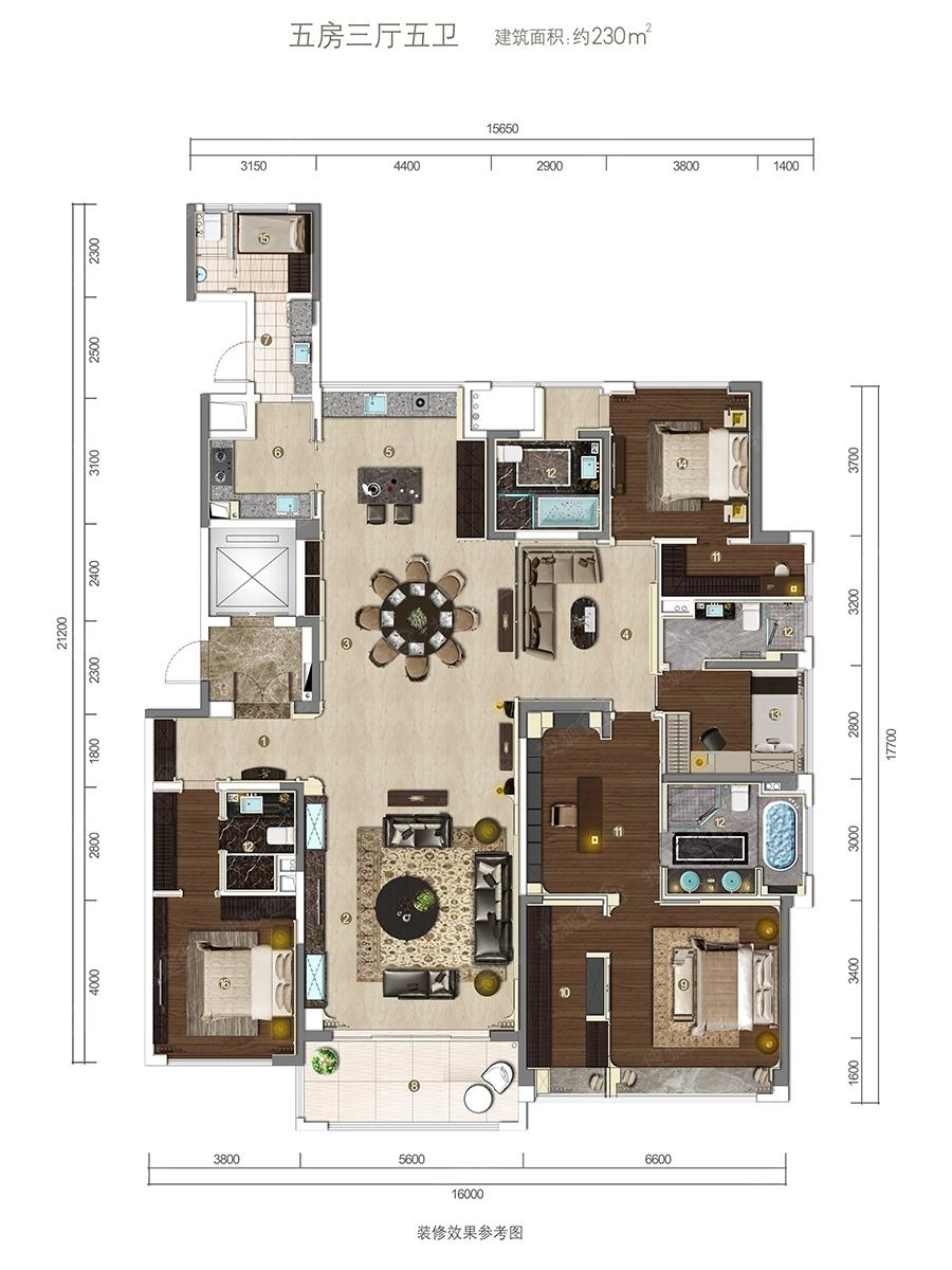 一厅5室设计图纸