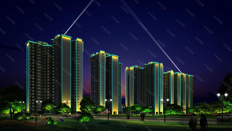 住宅小区夜景亮化工程效果图 多图-酒店夜景照明亮化效果 外国公园夜