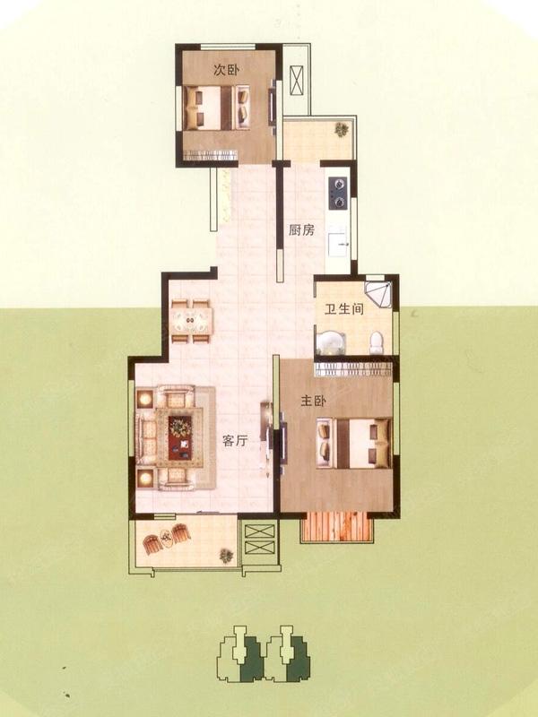 高层小高层标准层91平米户型