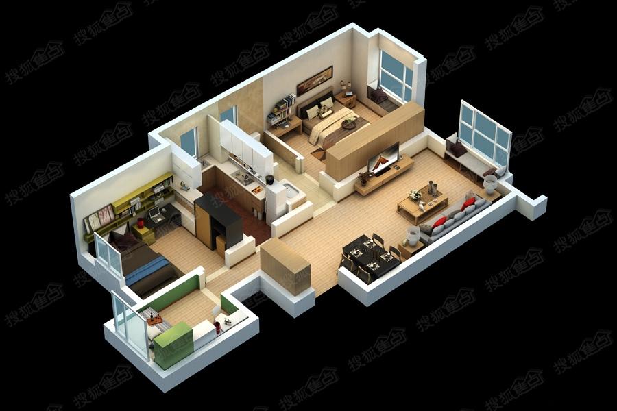 万科民和巷小高层标准层90平米三室户型模型图
