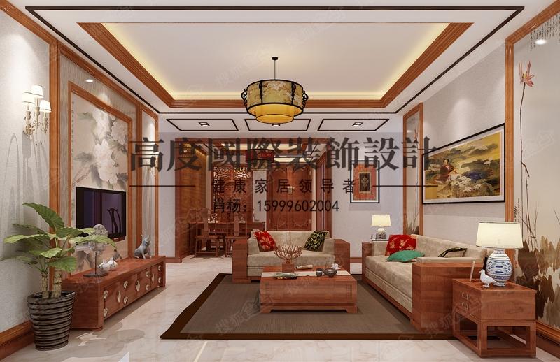 小区三室新中式装修设计