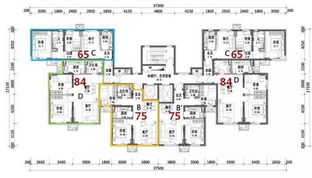 华润橡树湾五期高层65 75 84平米户型楼层平面图