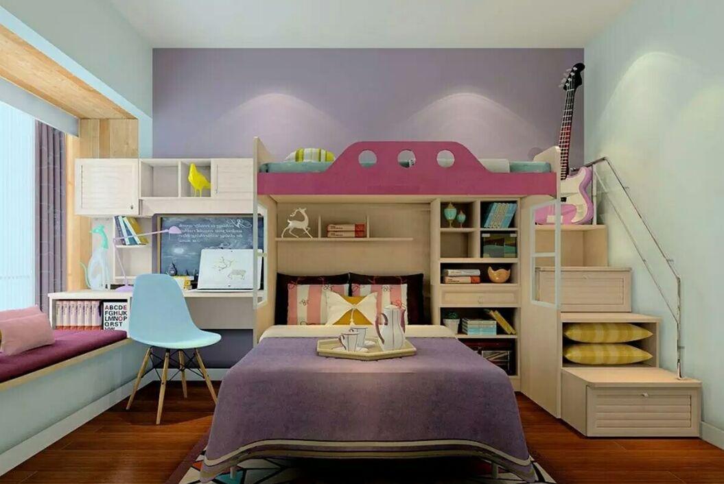 双人儿童房装修效果图,美极了!|天津亿点击工程装饰公司