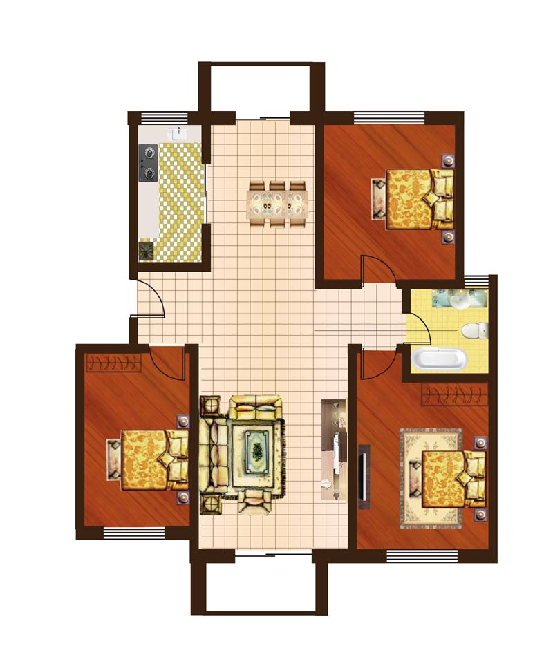 龙福花园2#-5#c户型三室两厅一卫132.73㎡户型图