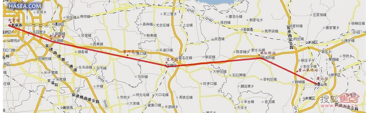 > 新建北京至唐山城际高速铁路线路及设站地图!