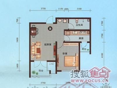 图: 一室一厅户型设计