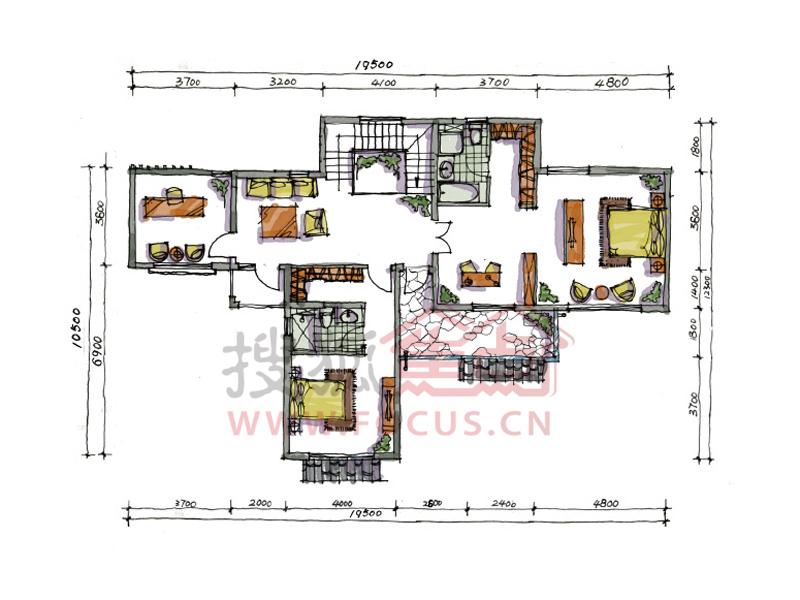 宝安江南城户型图 296平米别墅B户型地上二层户型