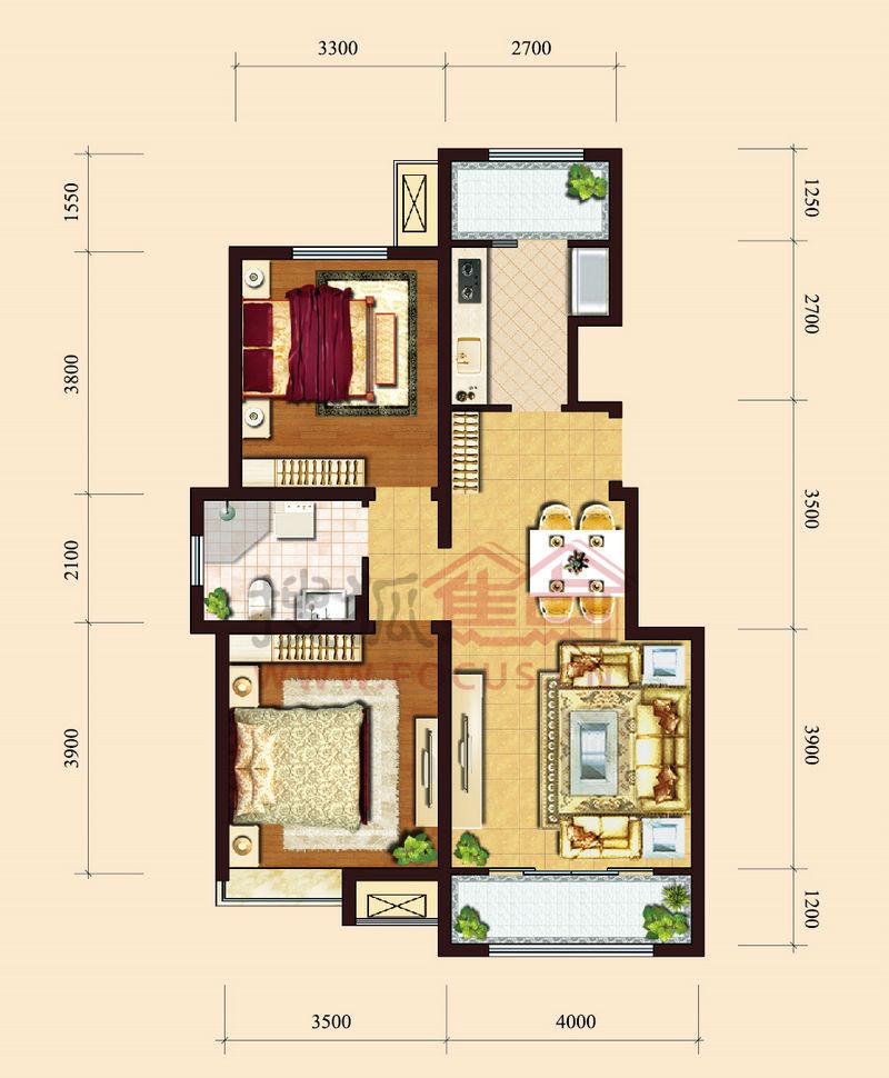 保利香颂湖洋房标准层90平米两室户型户型图片