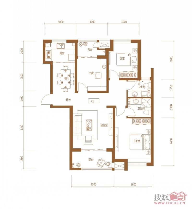 【户型点评】【铂悦山】铂悦山c5 三室两厅两卫约119平户型喜欢这个