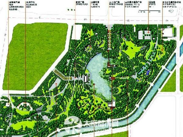 """公园设计秉承""""构建城市自然美景,承载百姓和谐生活""""的理念,通过绿地图片"""