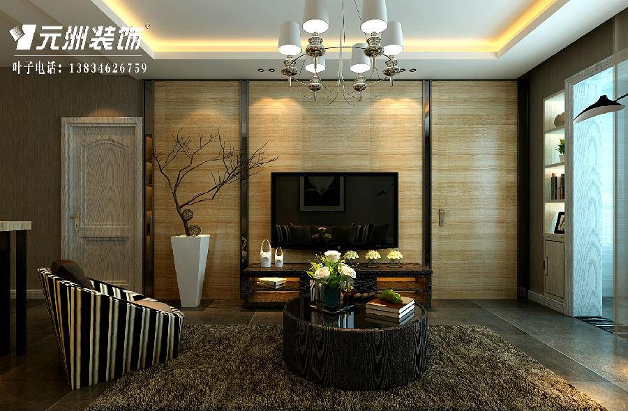 电视背景墙造型中选用的材质主要是木饰面和