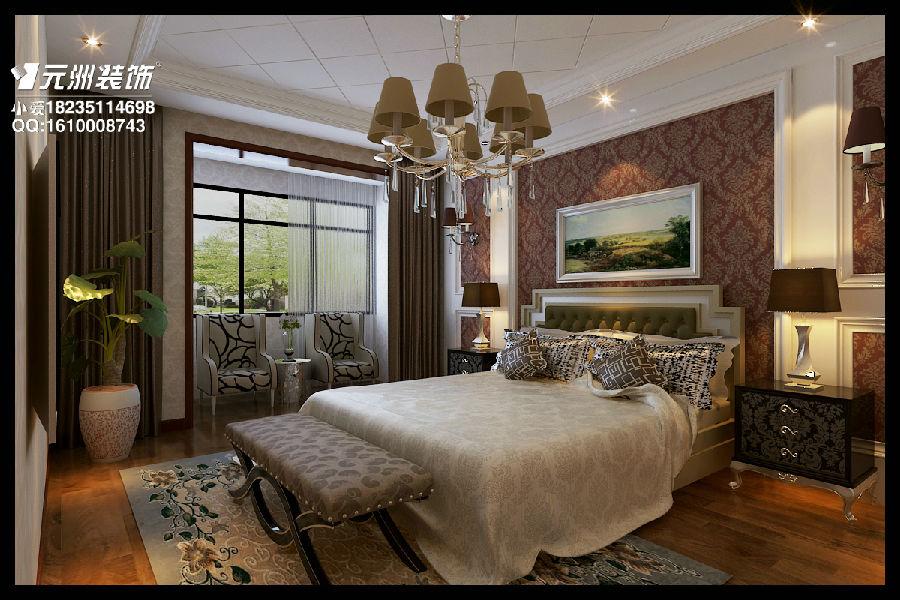 主卧室:整个房间是深色调的私密空间图片
