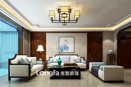 阳光汾河湾170平米新中式风格设计-客厅沙发背景墙