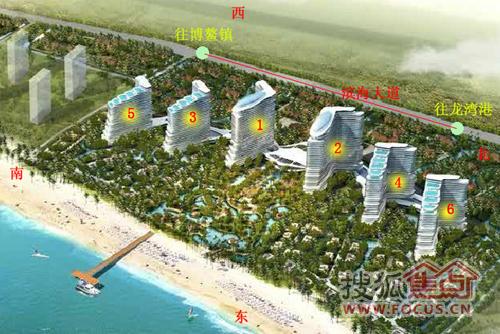 图2   社区景观借鉴东南亚热带雨 环岛运河水系景观带、五星级酒店