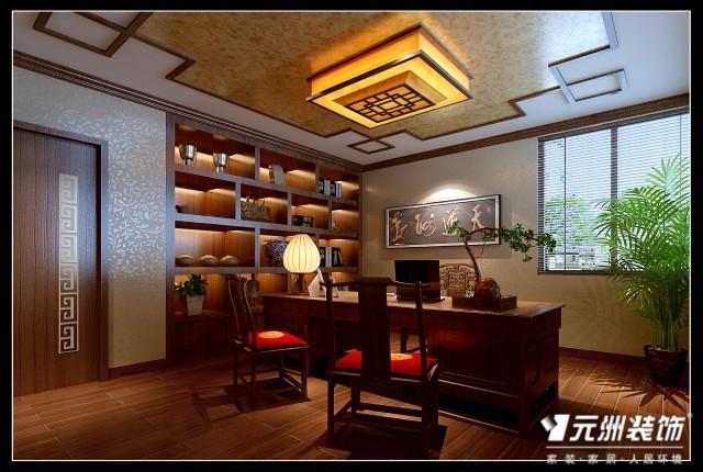 书房:顶面为实木顶角线,通顶的书柜使空间更完整的利用,当然,高清图片