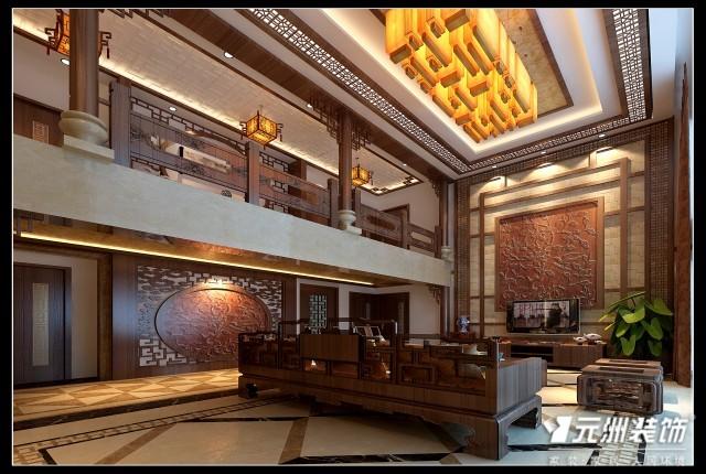 太原和泰 紫园跃层4室3厅3卫1厨285.81㎡中式风格效果图喔高清图片