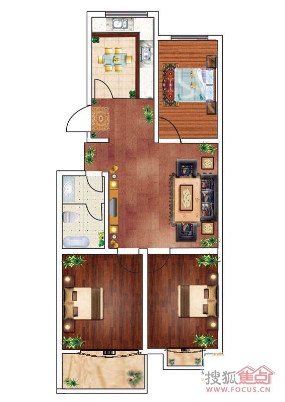 一期宜居三室3室1厅1卫1厨103.00㎡户型